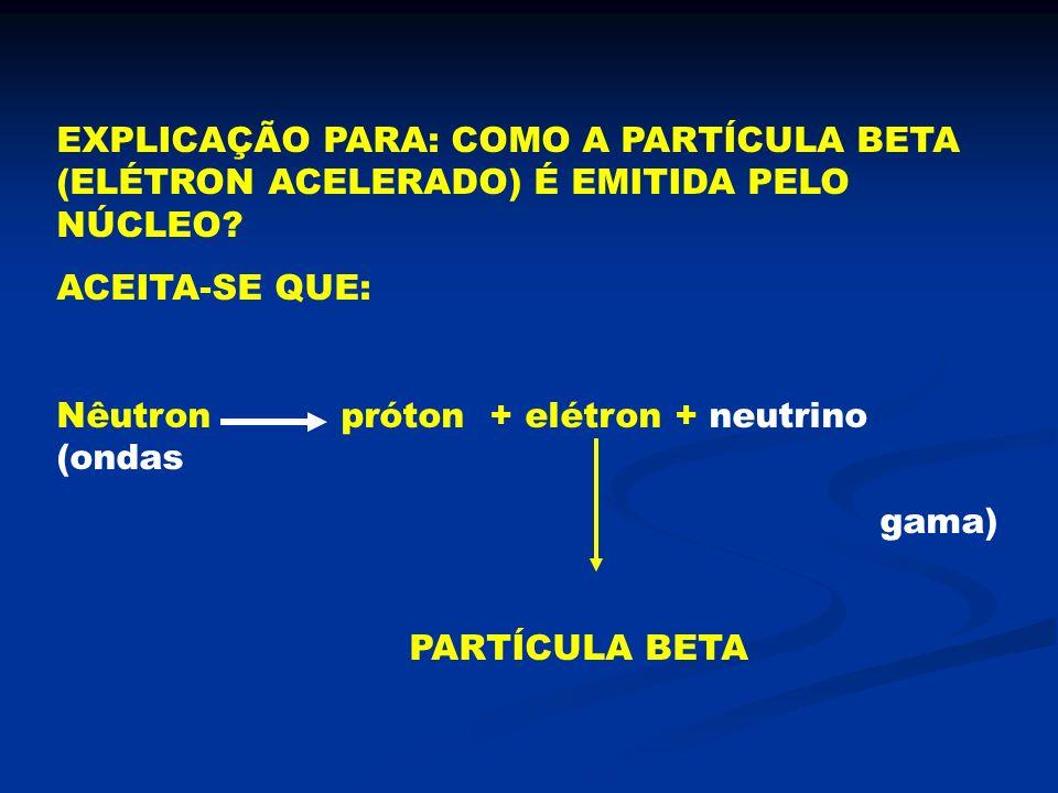 EXPLICAÇÃO PARA: COMO A PARTÍCULA BETA (ELÉTRON ACELERADO) É EMITIDA PELO NÚCLEO