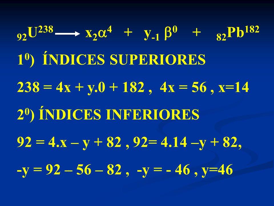 92U238 x24 + y-1 0 + 82Pb182 10) ÍNDICES SUPERIORES. 238 = 4x + y.0 + 182 , 4x = 56 , x=14.