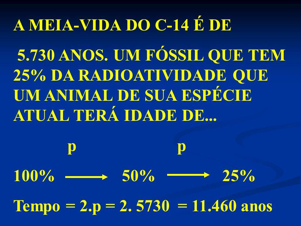 A MEIA-VIDA DO C-14 É DE5.730 ANOS. UM FÓSSIL QUE TEM 25% DA RADIOATIVIDADE QUE UM ANIMAL DE SUA ESPÉCIE ATUAL TERÁ IDADE DE...