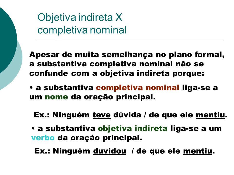 Objetiva indireta X completiva nominal