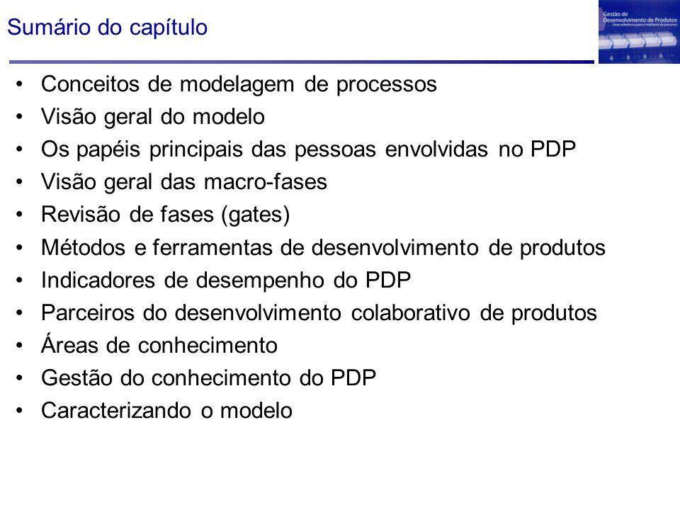 Sumário do capítulo Conceitos de modelagem de processos. Visão geral do modelo. Os papéis principais das pessoas envolvidas no PDP.