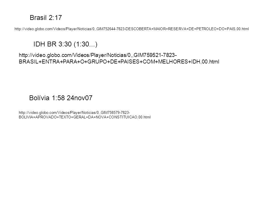 Brasil 2:17 IDH BR 3:30 (1:30...) Bolívia 1:58 24nov07