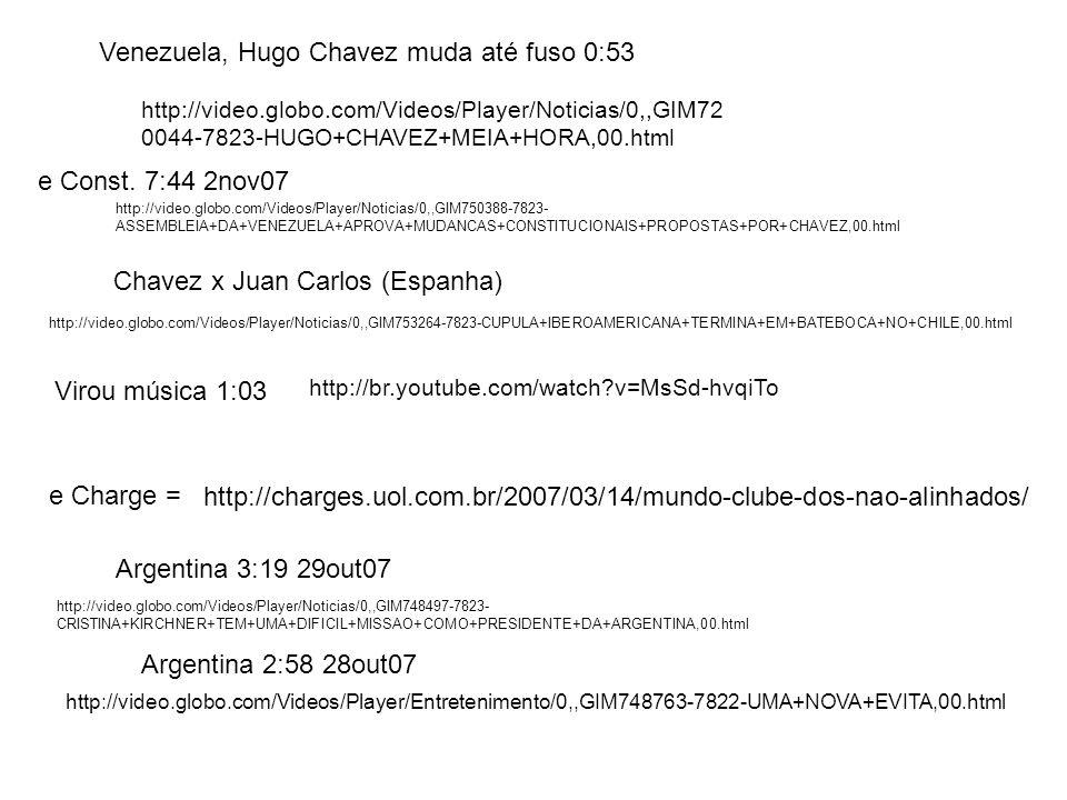 Venezuela, Hugo Chavez muda até fuso 0:53