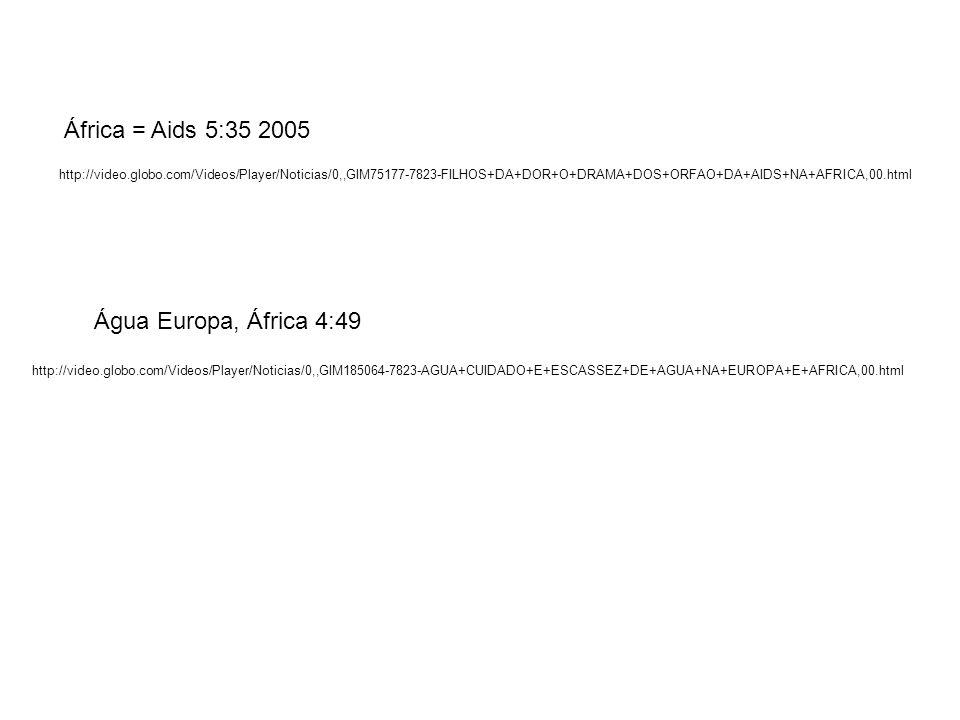 África = Aids 5:35 2005 Água Europa, África 4:49