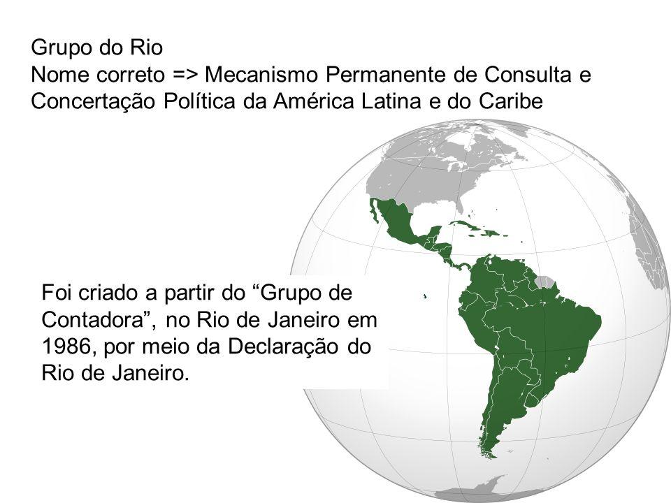 Grupo do Rio Nome correto => Mecanismo Permanente de Consulta e Concertação Política da América Latina e do Caribe.