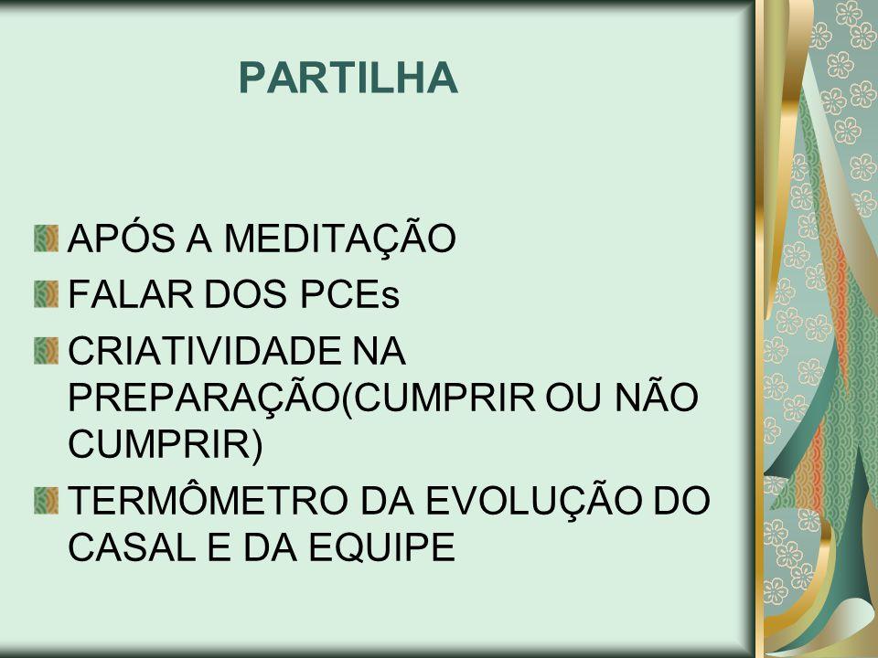 PARTILHA APÓS A MEDITAÇÃO FALAR DOS PCEs