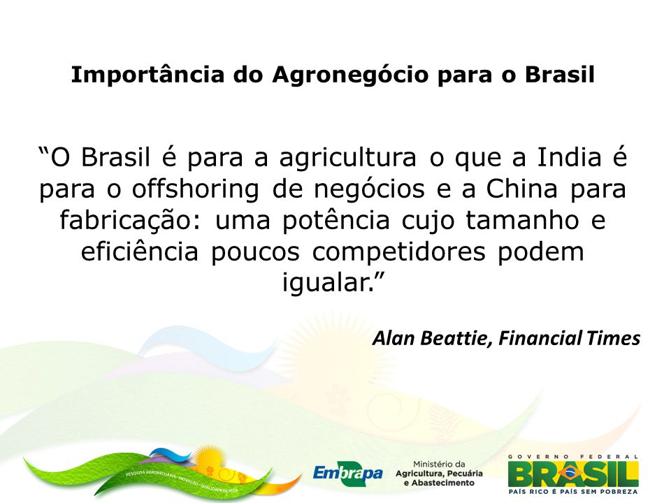 Importância do Agronegócio para o Brasil