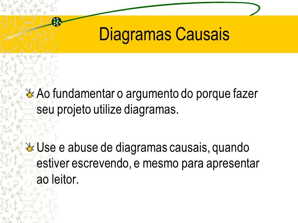 Diagramas Causais Ao fundamentar o argumento do porque fazer seu projeto utilize diagramas.