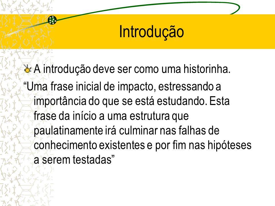 Introdução A introdução deve ser como uma historinha.