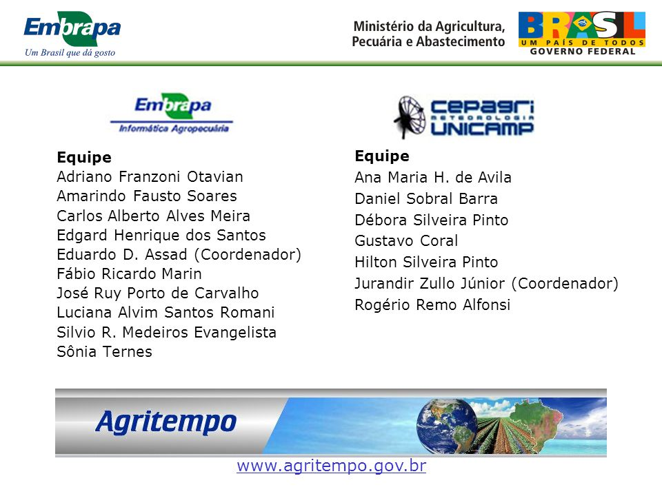 www.agritempo.gov.br Equipe