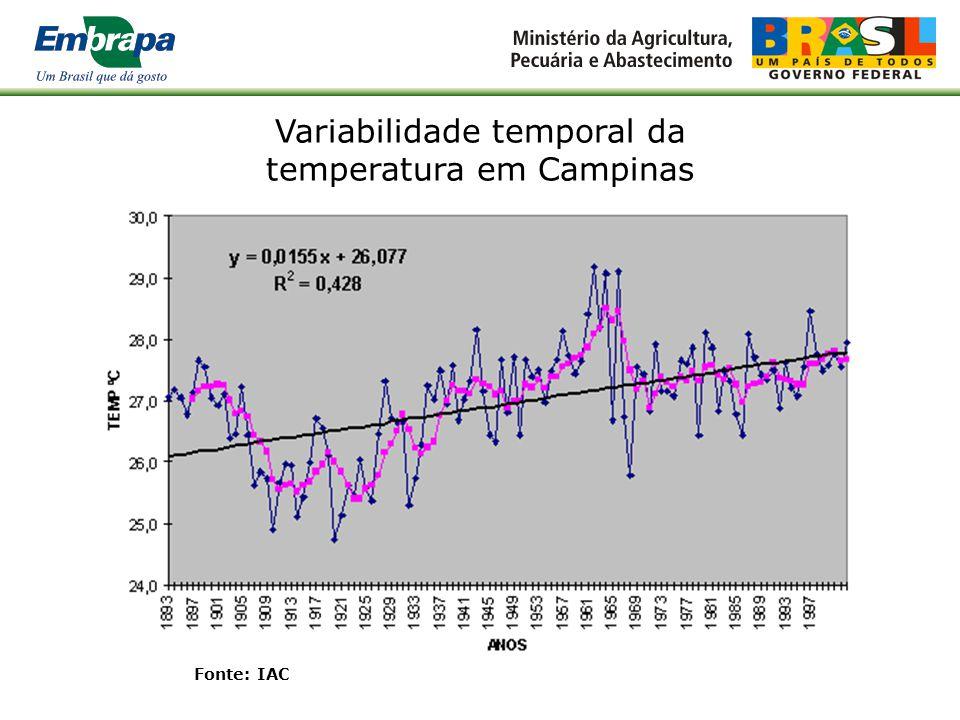 Variabilidade temporal da temperatura em Campinas