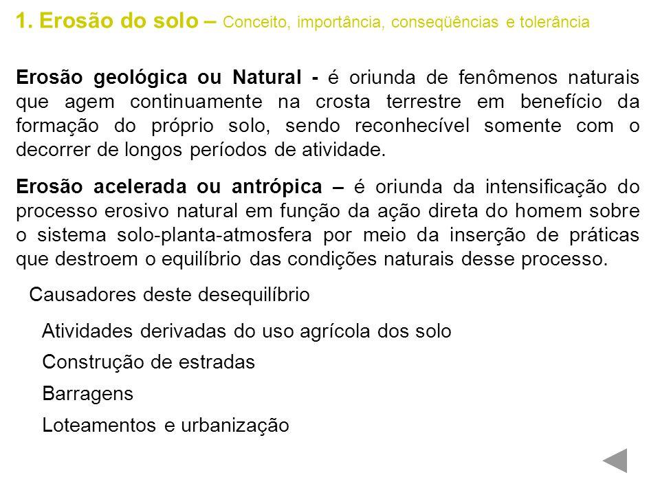 1. Erosão do solo – Conceito, importância, conseqüências e tolerância