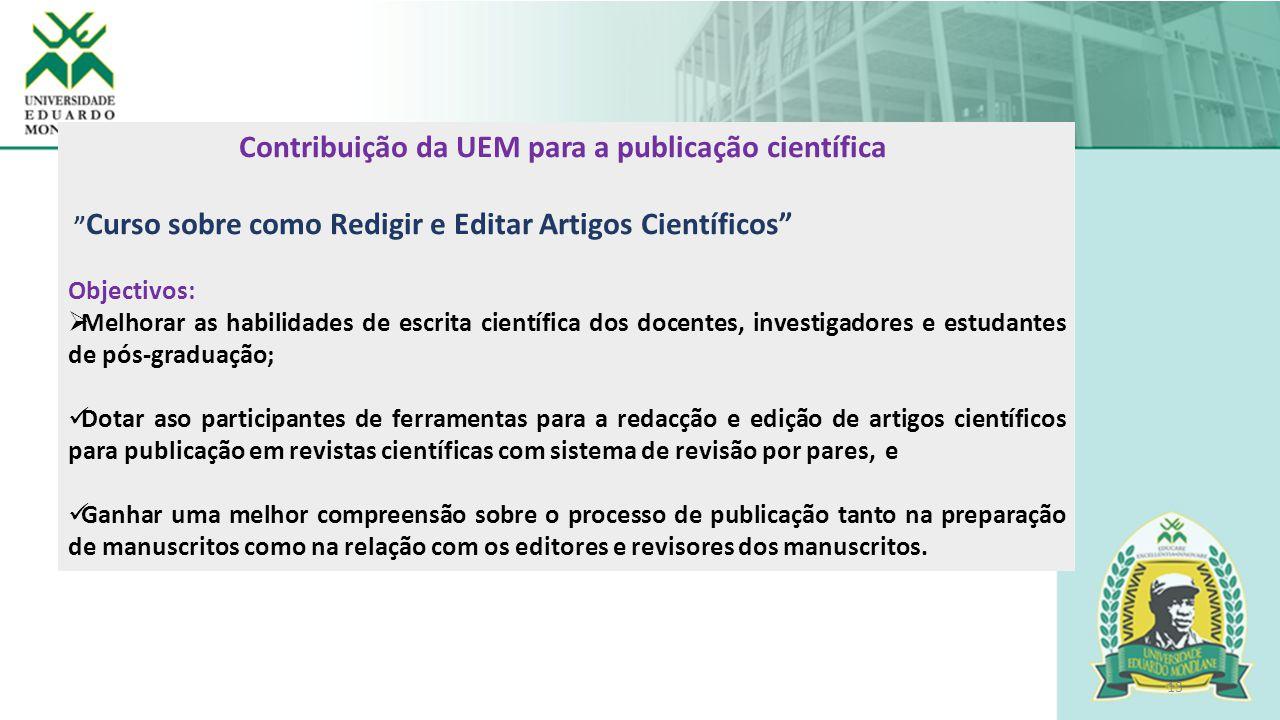 Contribuição da UEM para a publicação científica