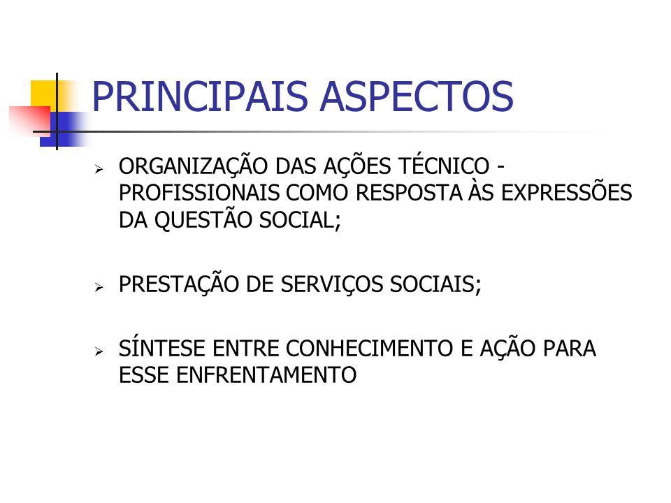PRINCIPAIS ASPECTOS ORGANIZAÇÃO DAS AÇÕES TÉCNICO -PROFISSIONAIS COMO RESPOSTA ÀS EXPRESSÕES DA QUESTÃO SOCIAL;