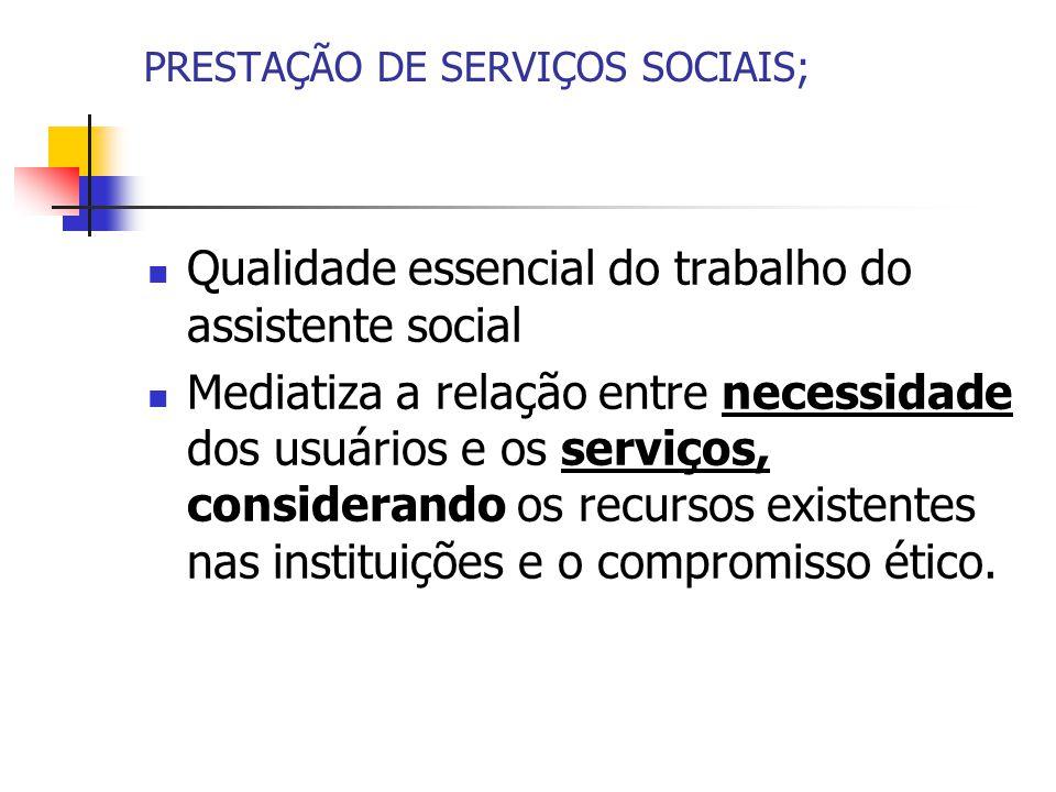 PRESTAÇÃO DE SERVIÇOS SOCIAIS;