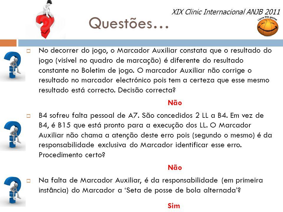 Questões… XIX Clinic Internacional ANJB 2011.