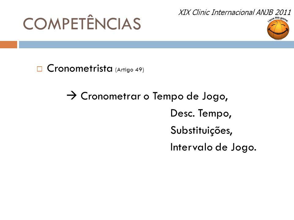 COMPETÊNCIAS Cronometrista (Artigo 49)  Cronometrar o Tempo de Jogo,
