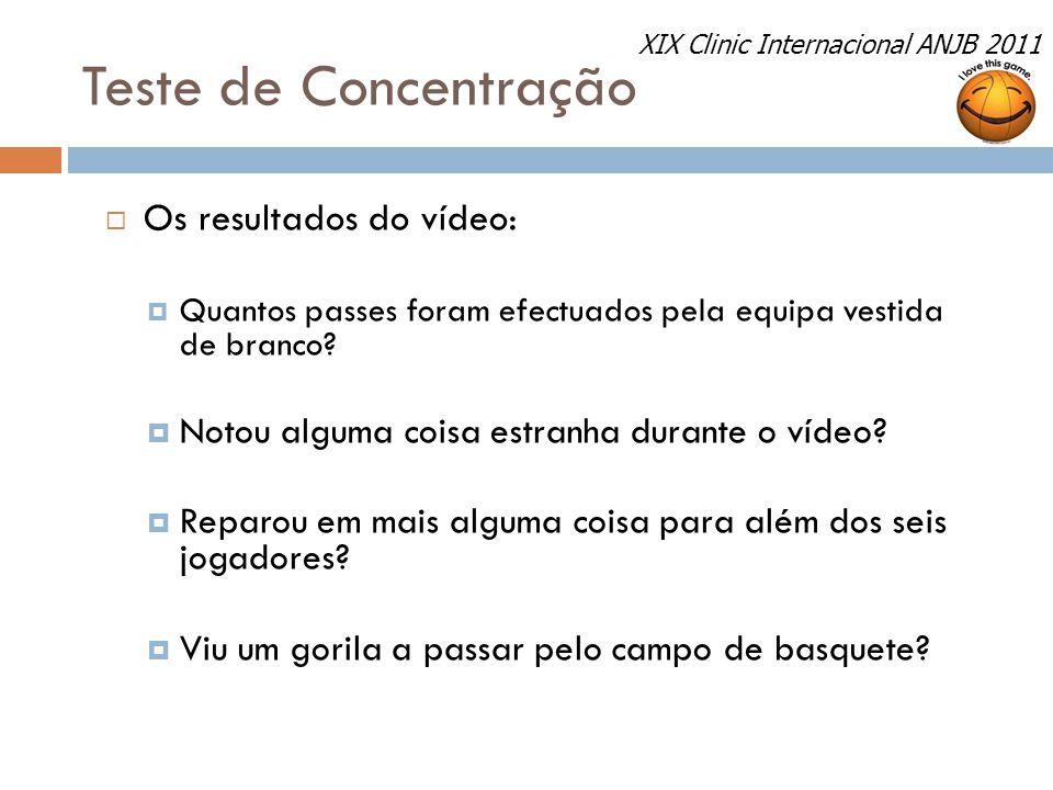 Teste de Concentração Os resultados do vídeo:
