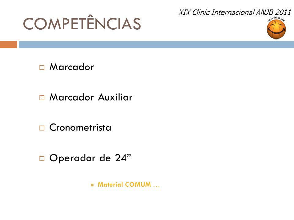 COMPETÊNCIAS Marcador Marcador Auxiliar Cronometrista Operador de 24
