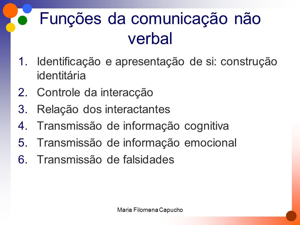 Funções da comunicação não verbal