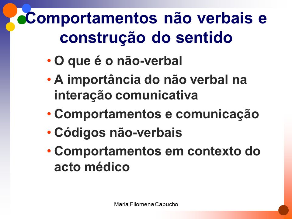 Comportamentos não verbais e construção do sentido