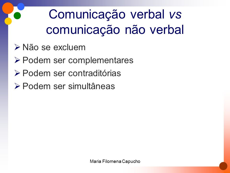 Comunicação verbal vs comunicação não verbal