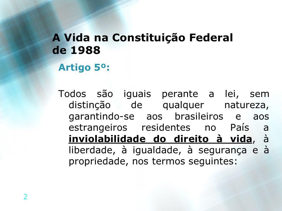 A Vida na Constituição Federal de 1988