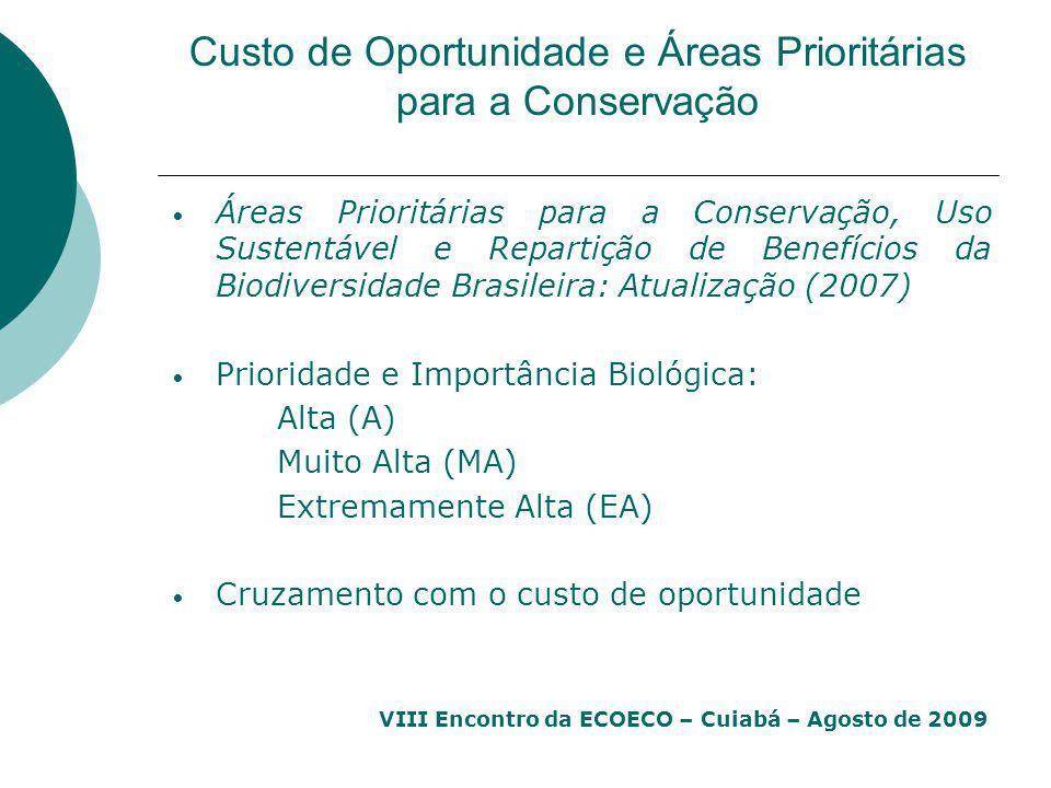 Custo de Oportunidade e Áreas Prioritárias para a Conservação