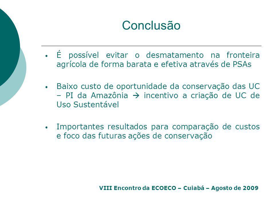 Conclusão É possível evitar o desmatamento na fronteira agrícola de forma barata e efetiva através de PSAs.