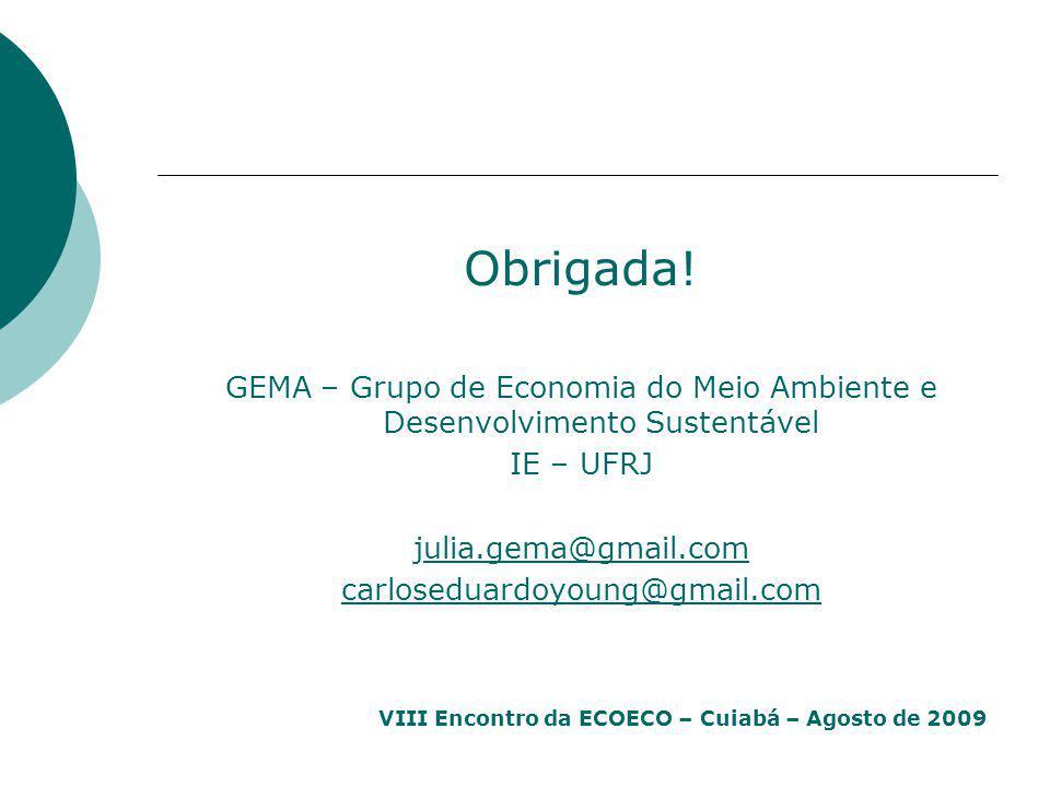 Obrigada! GEMA – Grupo de Economia do Meio Ambiente e Desenvolvimento Sustentável. IE – UFRJ. julia.gema@gmail.com.