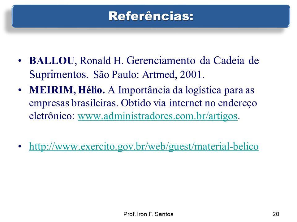 08/04/2017 Referências: BALLOU, Ronald H. Gerenciamento da Cadeia de Suprimentos. São Paulo: Artmed, 2001.