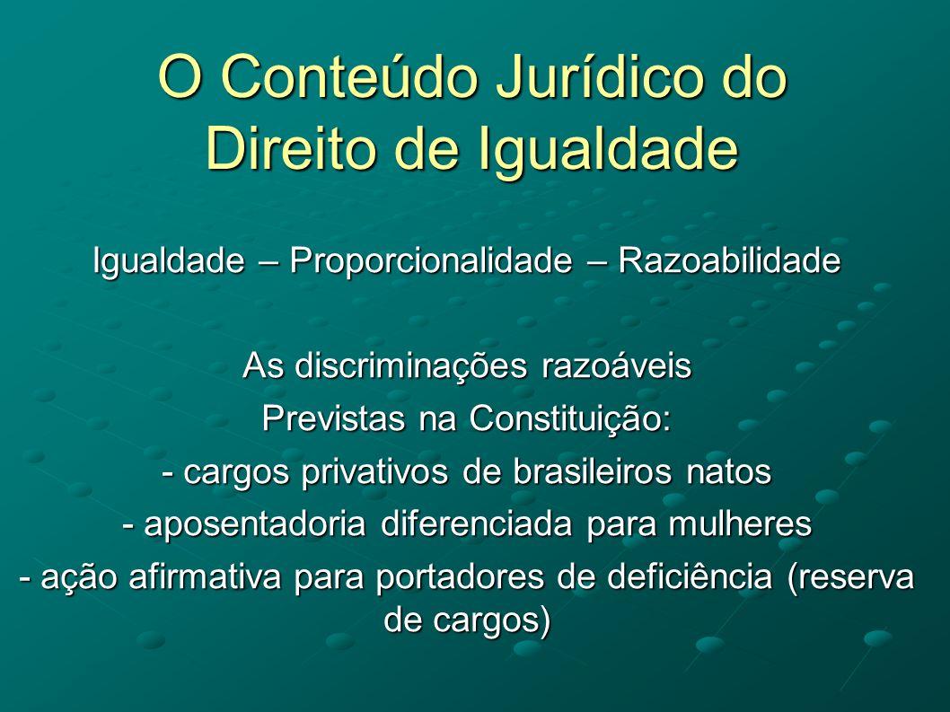 O Conteúdo Jurídico do Direito de Igualdade
