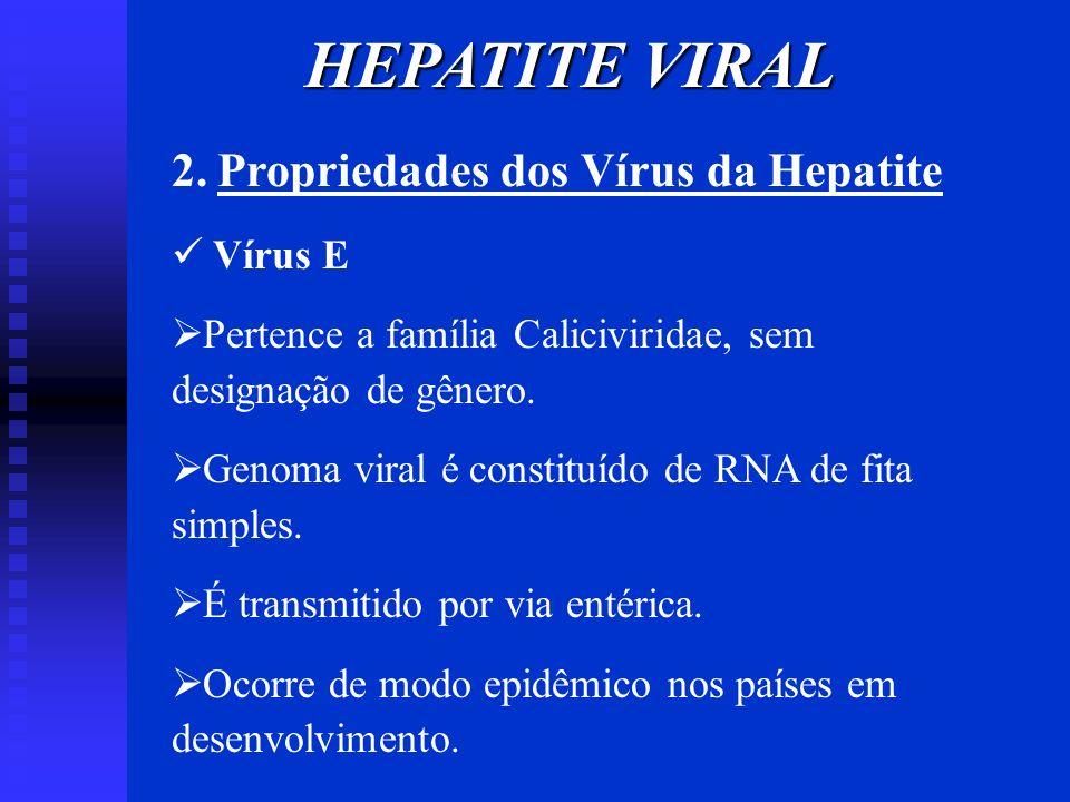 HEPATITE VIRAL 2. Propriedades dos Vírus da Hepatite Vírus E