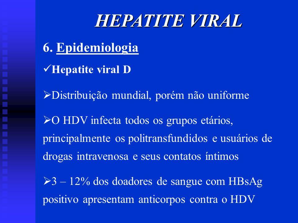 HEPATITE VIRAL 6. Epidemiologia Hepatite viral D