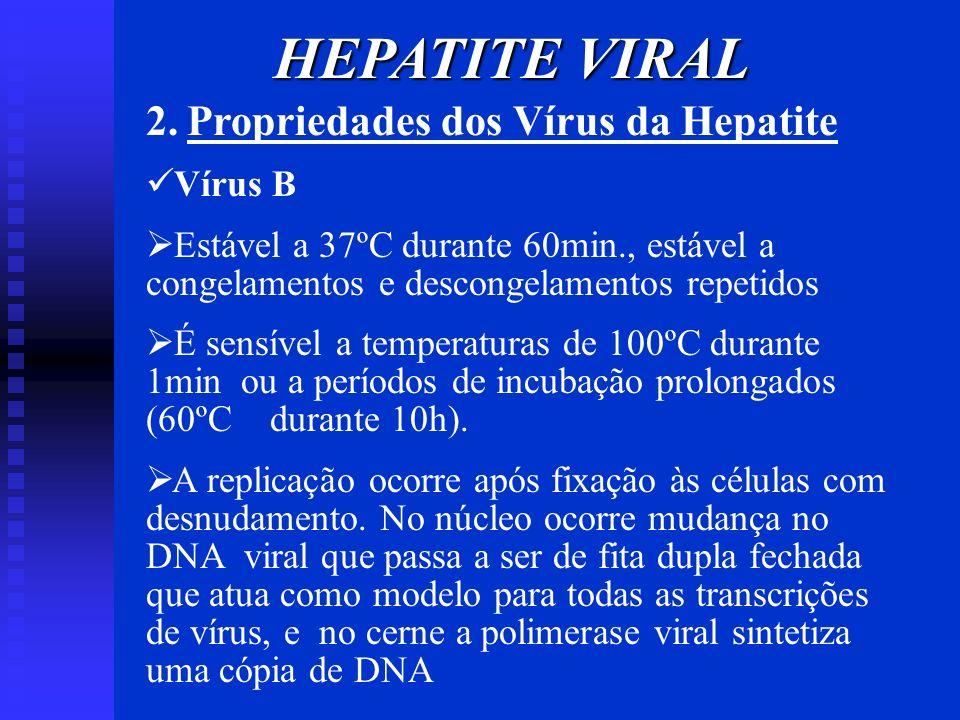 HEPATITE VIRAL 2. Propriedades dos Vírus da Hepatite Vírus B