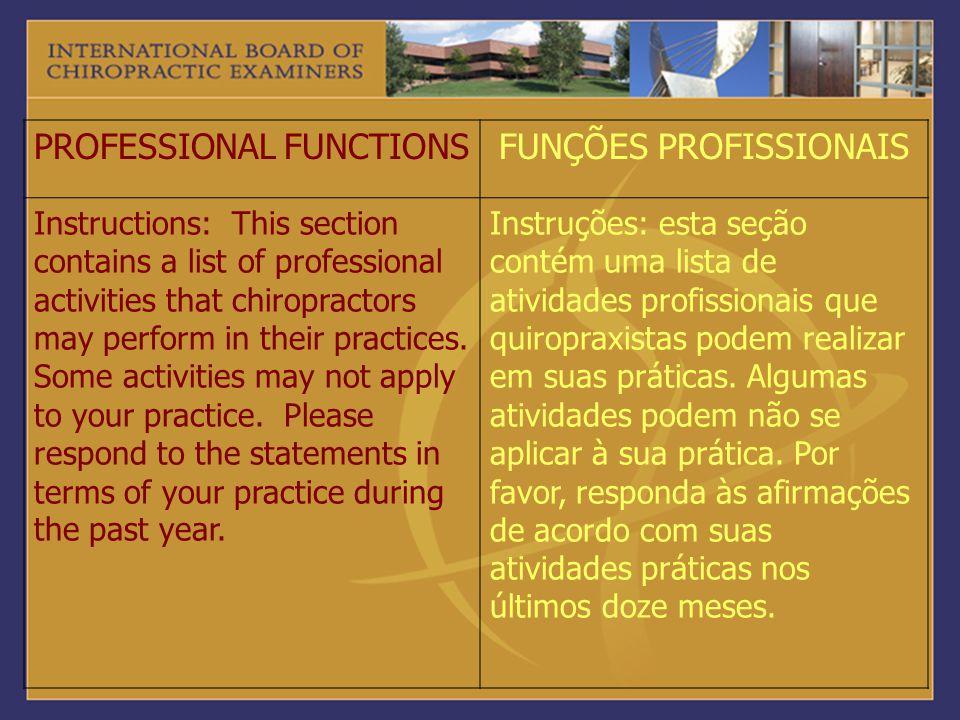 PROFESSIONAL FUNCTIONS FUNÇÕES PROFISSIONAIS