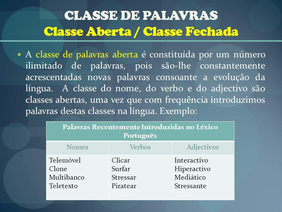 CLASSE DE PALAVRAS Classe Aberta / Classe Fechada