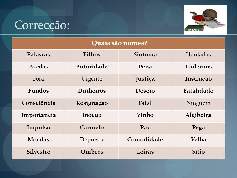 Correcção: Quais são nomes Palavras Filhos Sintoma Herdadas Azedas