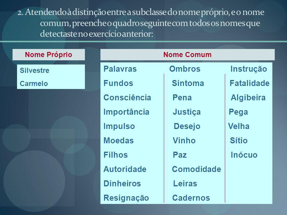 2. Atendendo à distinção entre a subclasse do nome próprio, e o nome comum, preenche o quadro seguinte com todos os nomes que detectaste no exercício anterior: