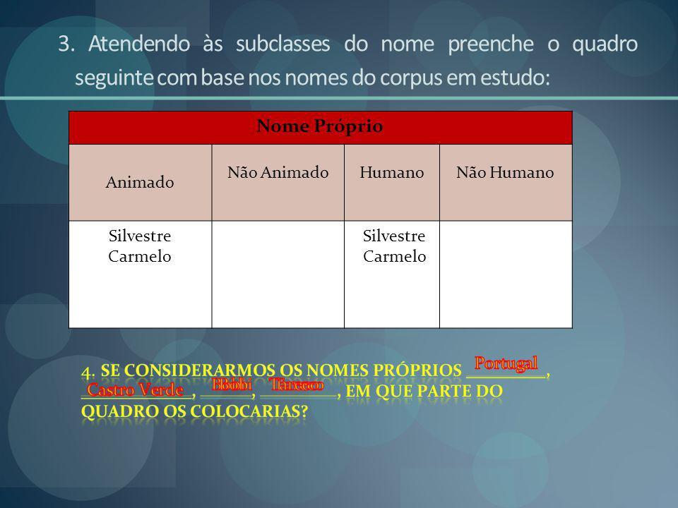 3. Atendendo às subclasses do nome preenche o quadro seguinte com base nos nomes do corpus em estudo: