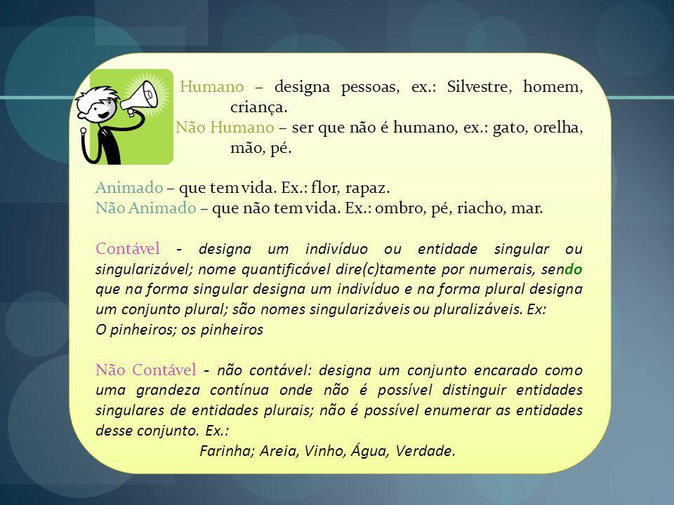 Humano – designa pessoas, ex.: Silvestre, homem, criança.