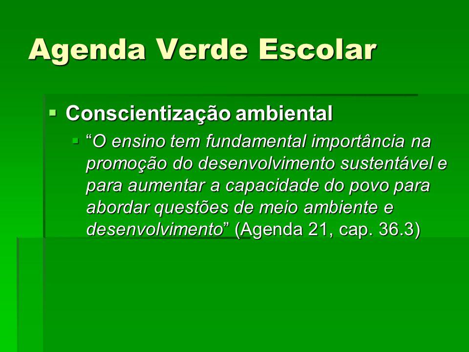 Agenda Verde Escolar Conscientização ambiental