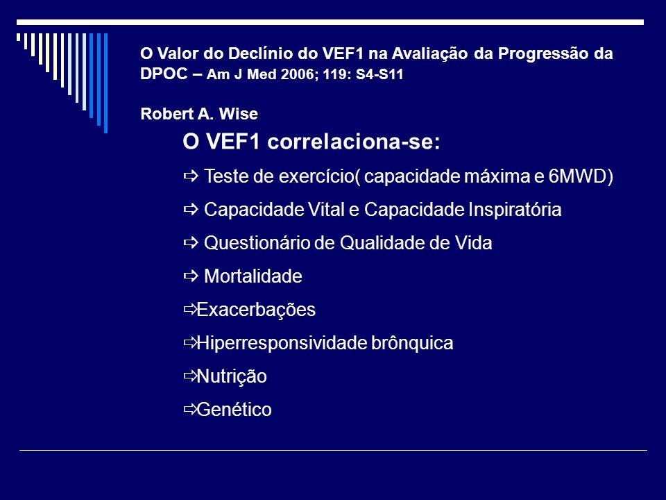 O VEF1 correlaciona-se: