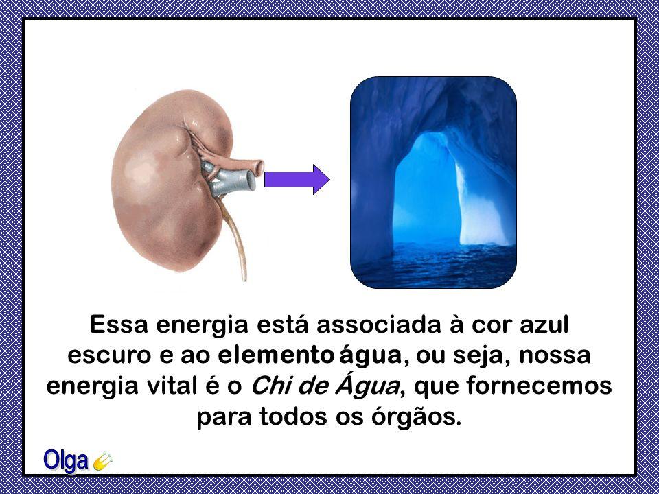 Essa energia está associada à cor azul escuro e ao elemento água, ou seja, nossa energia vital é o Chi de Água, que fornecemos para todos os órgãos.