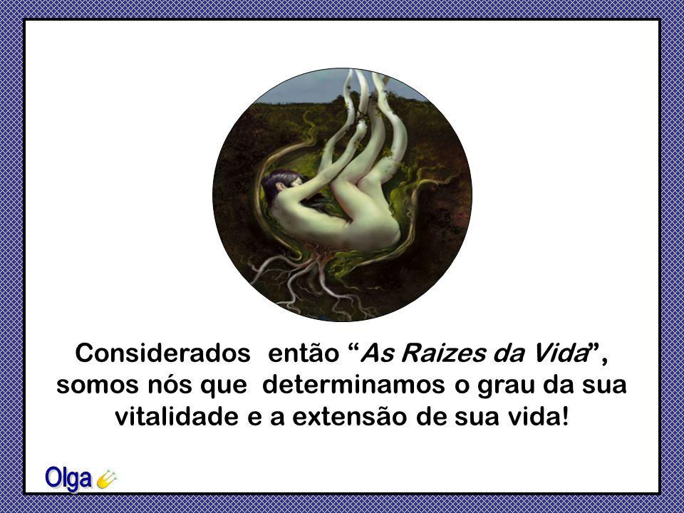 Considerados então As Raizes da Vida , somos nós que determinamos o grau da sua vitalidade e a extensão de sua vida!