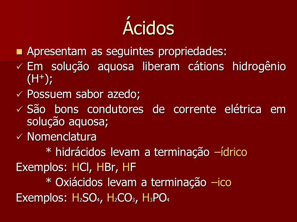 Ácidos Apresentam as seguintes propriedades: