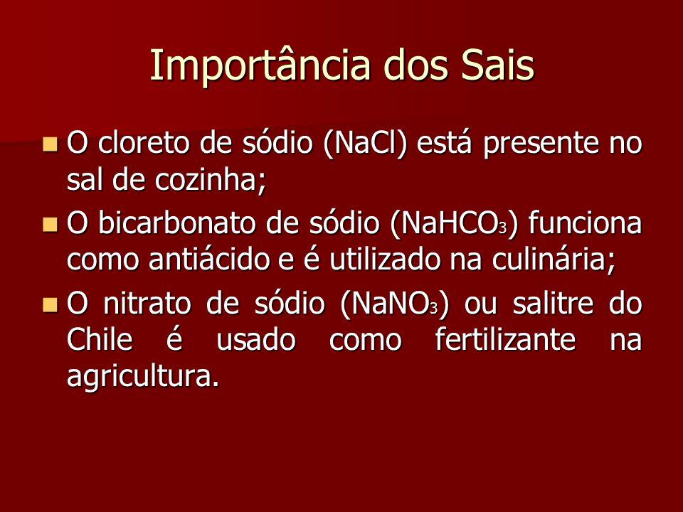 Importância dos Sais O cloreto de sódio (NaCl) está presente no sal de cozinha;