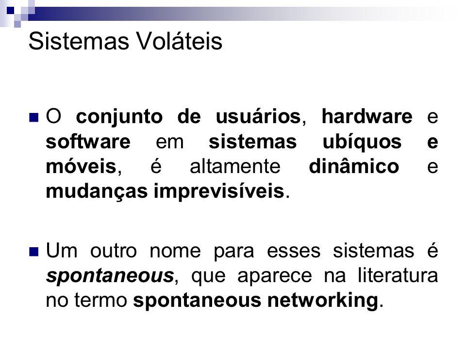 Sistemas VoláteisO conjunto de usuários, hardware e software em sistemas ubíquos e móveis, é altamente dinâmico e mudanças imprevisíveis.