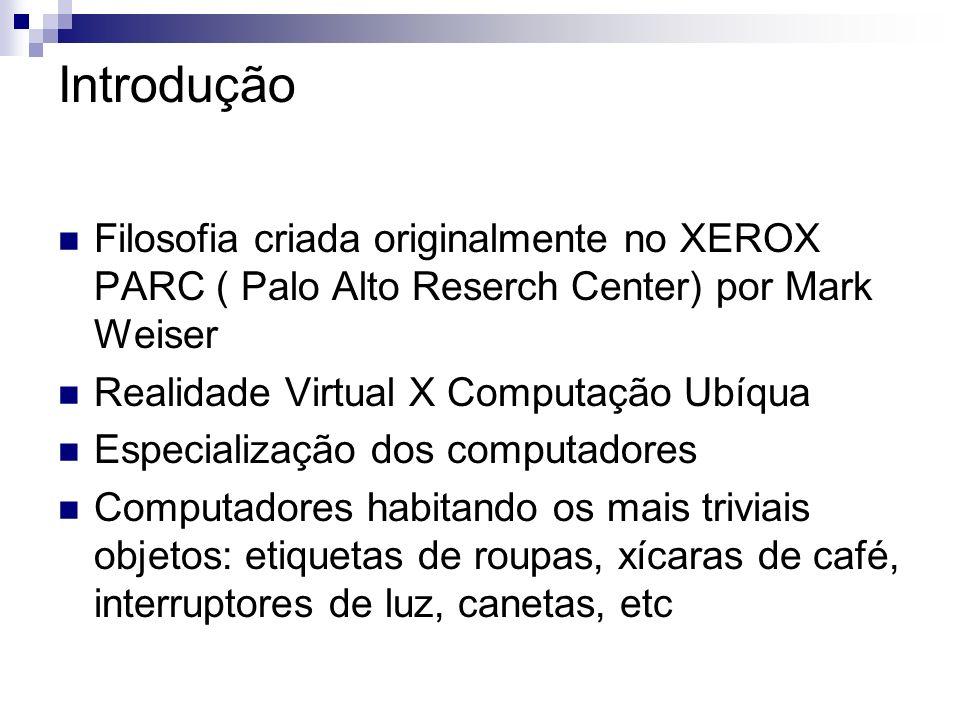 Introdução Filosofia criada originalmente no XEROX PARC ( Palo Alto Reserch Center) por Mark Weiser.