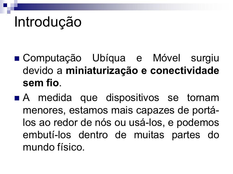 Introdução Computação Ubíqua e Móvel surgiu devido a miniaturização e conectividade sem fio.